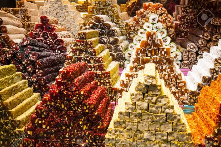 Turkish delight sweets at the Spice Market or Grand Bazaar in Istanbul Turkey